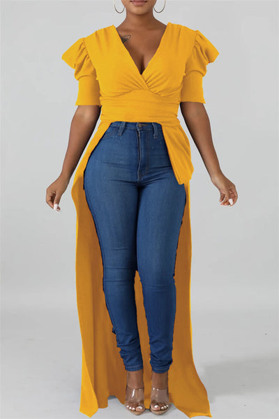 Solid Color Irregular Hem Top