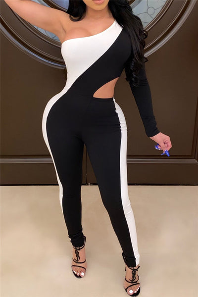 One Sleeve Hollow Out Jumpsuit