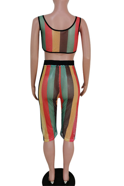 Stripe Mesh Two PC Sets