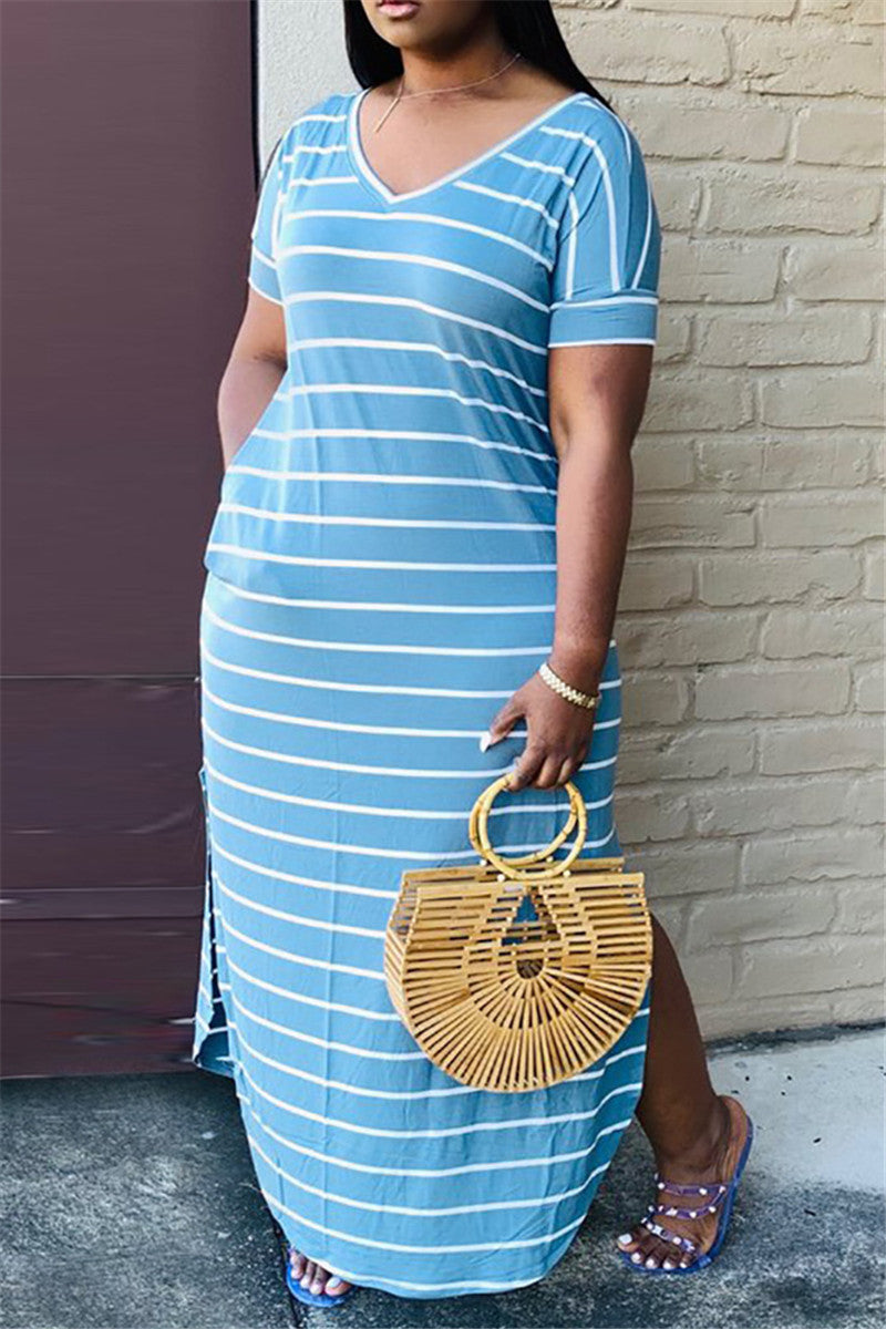 Casual Striped Split Dress With Pockets