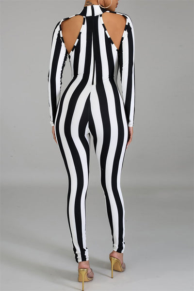 Striped Hollow Out Jumpsuit