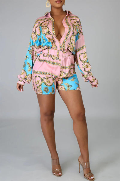 Casual Printed Shirt& Shorts Sets
