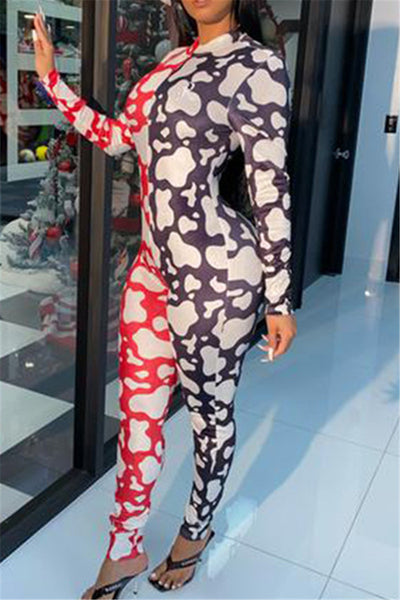 Color Splicing Printed Jumpsuit