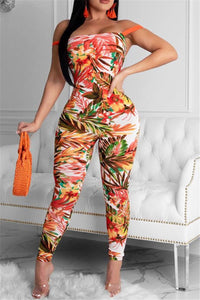 Printed Back Bandage Jumpsuit