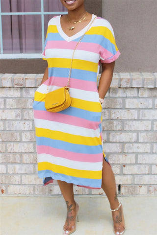 Irregular Hem Stripe Dress