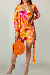 Printed Romper& Cover Up Sets