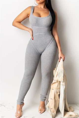 Solid Color Bodycon Cami Jumpsuit