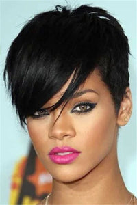 Short Black Side Fringe Wigs