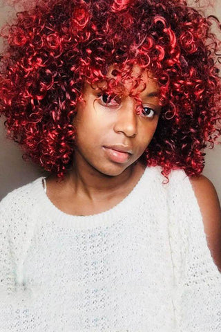 Short Red Small Curly Wigs