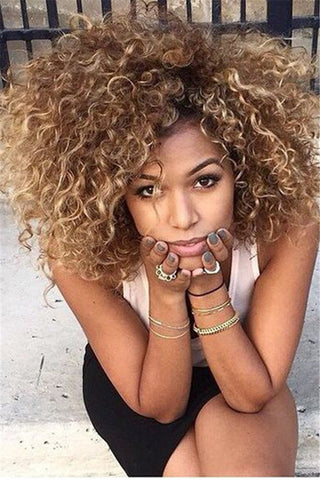 Gold Short Small Curly Wigs