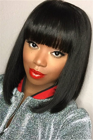 Black Short Bobo Straight Wigs