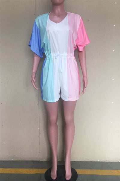 Casual Color Splicing Drawstring Romper