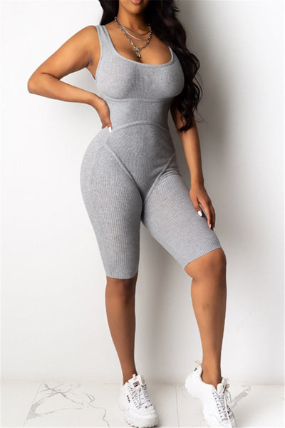 Solid Color Bodycon Romper