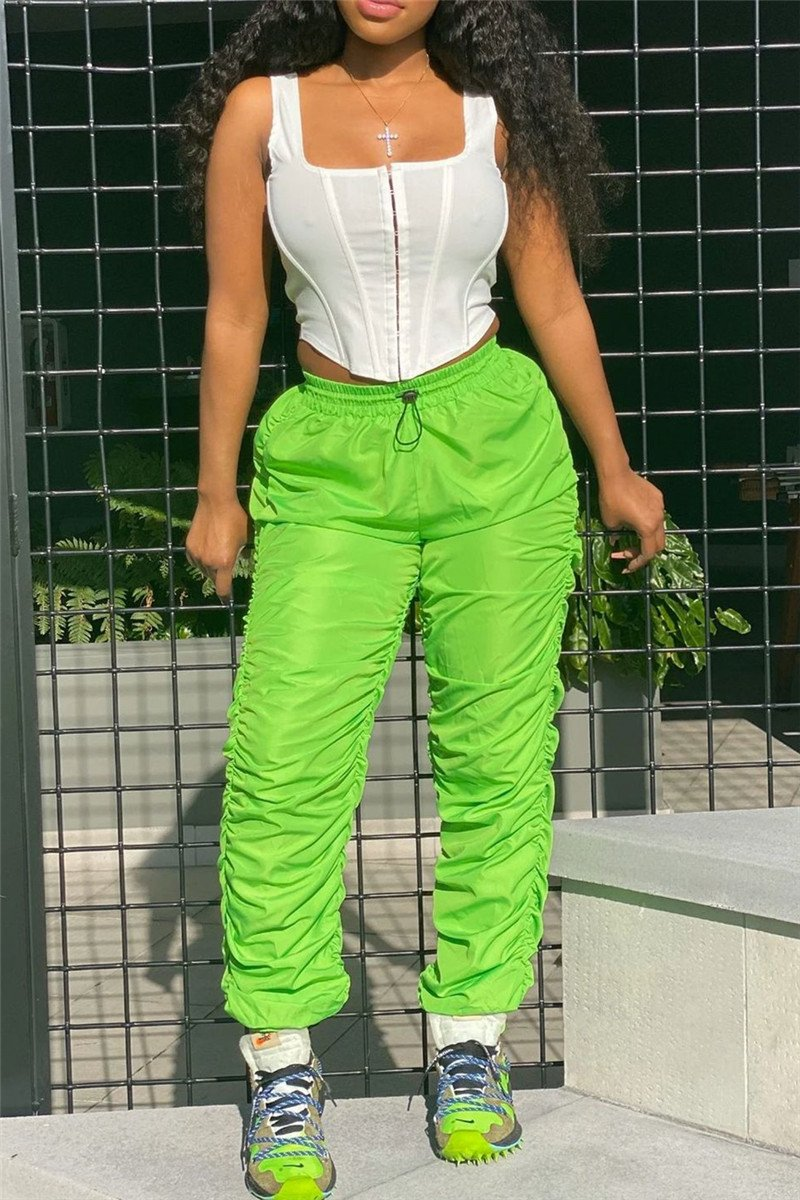 Solid Color Drawstring Ruched Pants