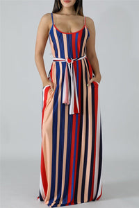 Stripe Printed Maxi Dress With Belt