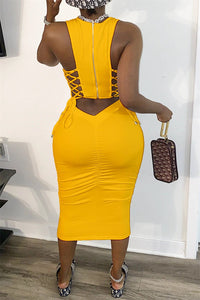 Solid Color Back Bandage Midi Dress