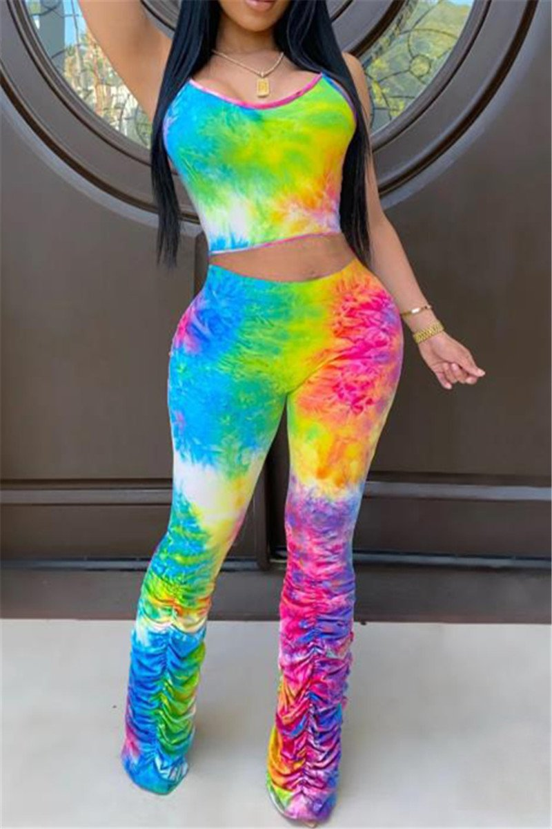 Tie Dye Ruched Legs Sets