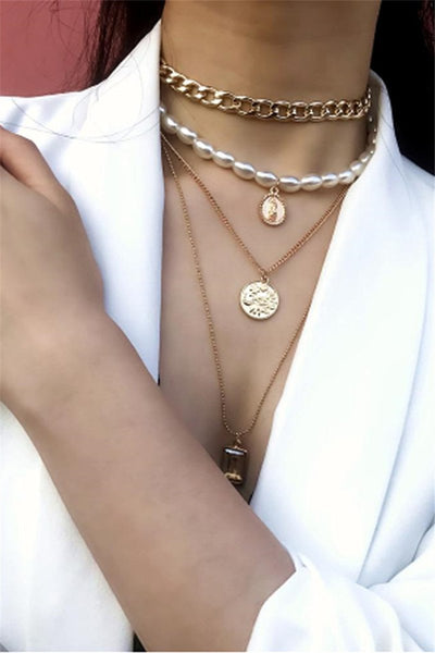 Trendy Layered Pearl Chain Necklace