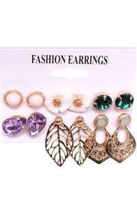 Leaf 6-piece Alloy Earring Sets