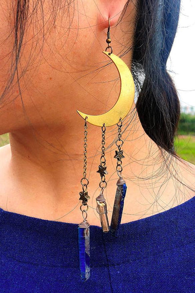 Moon Stars Splicing Alloy Earring