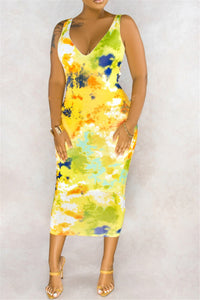 Tie Die Back Hollow Out Dress