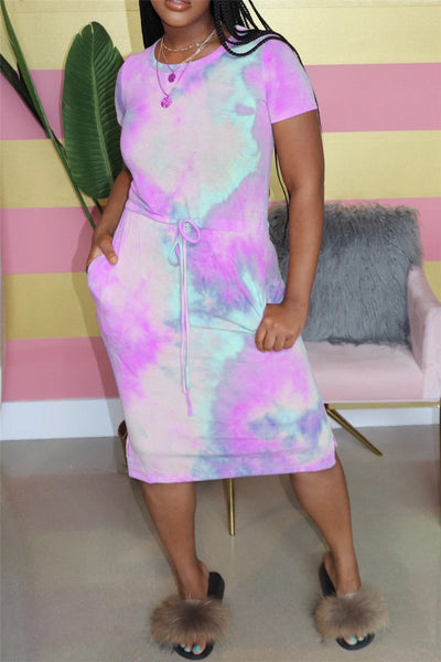 Tie Dye Drawstring Midi Dress