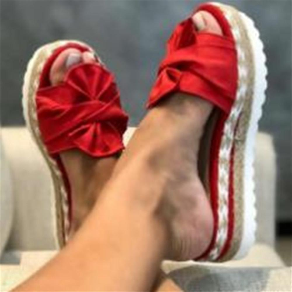 Bowknot Hemp Rope Open Toe Slippers