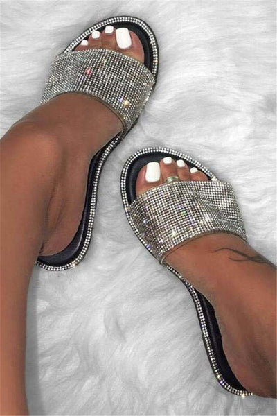 Shining Rhinestone Open Toe Slippers