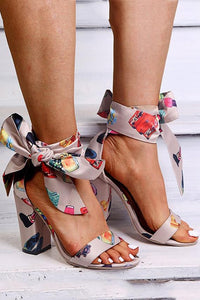 Printed Bandage Chunky Heeled Sandals