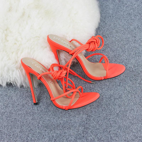 Solid Color Bandage Thin Heel Sandal