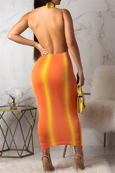 Backless Printed Cami Maxi Dress