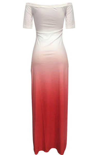 Off Shoulder Color Changing Maxi Dress