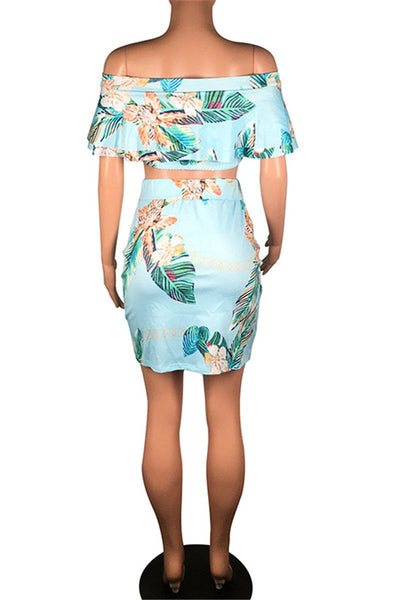 Printed Wrap Top& Skirt Sets