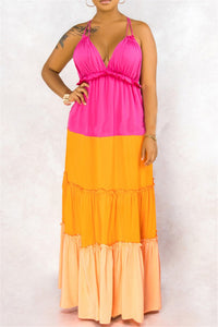 Color Splicing Ruffle Halted Maxi Dress