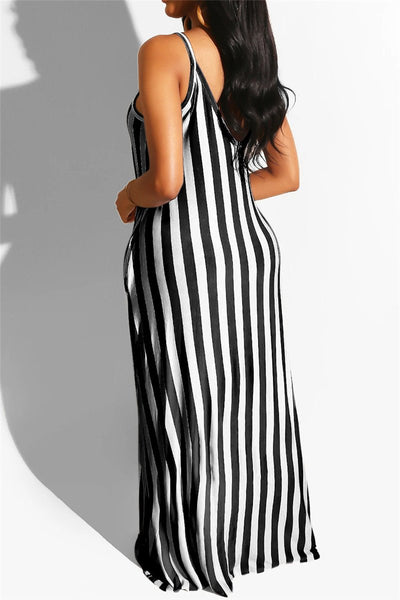 Casual Stripe Maxi Dress Wirh Pockets