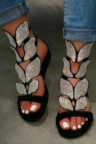 Shining Butterfly Rhinestone Sandals