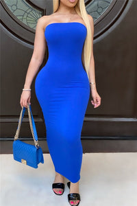 Solid Color Tube Maxi Dress