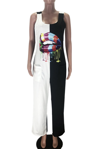 Color Splicing Lip Printed Jumpsuit