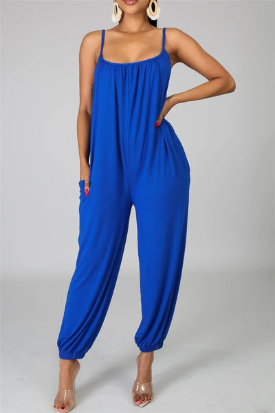 Casual Solid Color Cami Jumpsuit