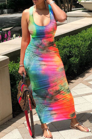 Tie Dye Back Bandage Maxi Dress