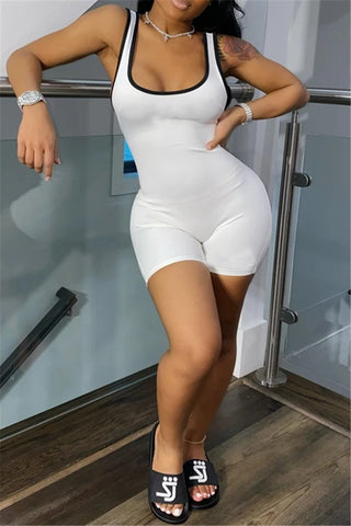 Solid Color Bodycon Sport Romper