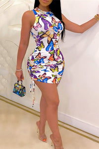 Butterfly Printed Open Back Bandage Dress