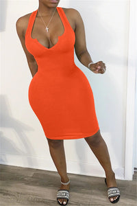 Solid Color Open Neck Tank Dress