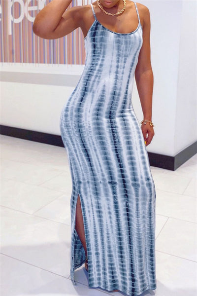 Casual Printed Split Maxi Dress