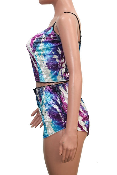 Printed Velvet Cami Two PC Sets