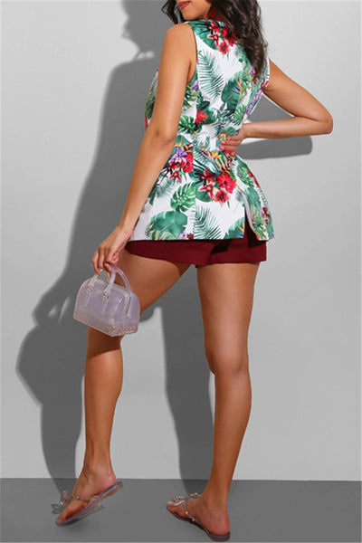 Flower Printed Sleeveless Vest
