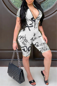 Letter Printed Zipper Bodycon Romper