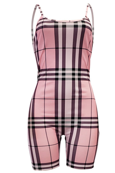 Lattice Printed Cami Bodycon Romper