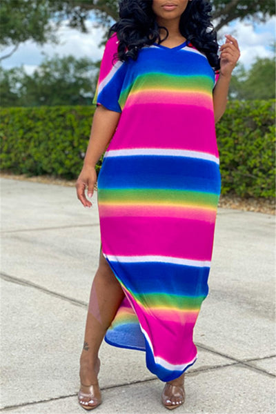 Casual Rainbow Stripe Split Dress