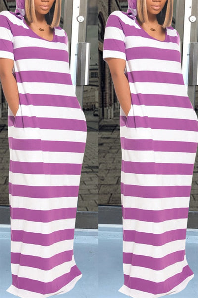 Casual Stripe Hooded Maxi Dress